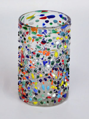 MEXICAN GLASSWARE / 'Confetti rocks' drinking glasses (set of 6)